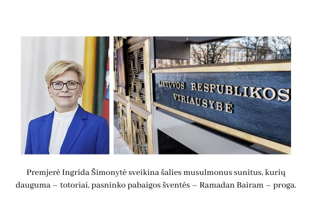 Lietuvos Respublikos ministrė pirmininkė I. Šimonytė sveikina šalies musulmonus sunitus Ramadan Bairam proga