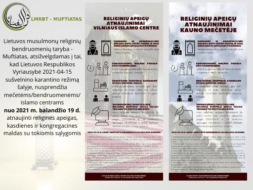 Religinės apeigos atnaujinamos Vilniuje ir Kaune nuo 2021 m. balandžio 19 d.